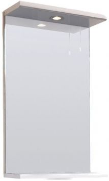 High Gloss White 450mm Mirror with Shelf